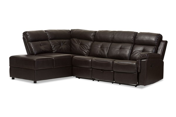 Baxton Studio Roland Brown Faux Leather 2pc Sectional with Recliner and Storage Chaise BAX-R3838-Dark-Brown-SF