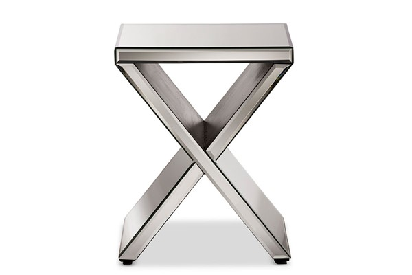 Baxton Studio Morris Silver Square Accent Side Table BAX-RS1652