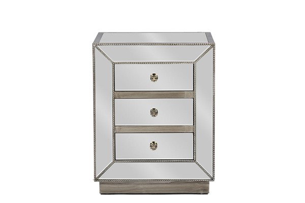 Baxton Studio Currin Silver Mirrored 3 Drawers Night Stand BAX-RS2102