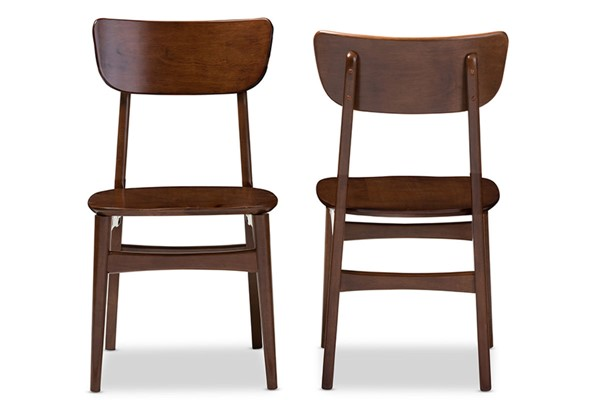 2 Baxton Studio Netherlands Walnut Brown Wood Dining Side Chairs BAX-RT365-CHR
