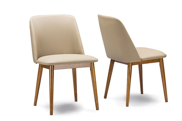 2 Baxton Studio Lavin Beige Faux Leather Upholstered Dining Chairs BAX-RT324-CHR