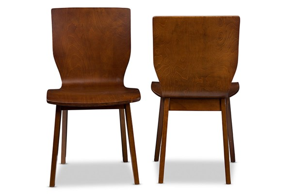 2 Baxton Studio Elsa Walnut Dark Brown Wood Dining Chairs BAX-RT364-TBL-Elsa-Dining-Chair