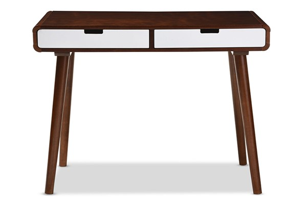 Baxton Studio Casarano Brown Wood 2 Drawers Home Office Writing Desk BAX-RT389-TBL-WH-DARK-WAL
