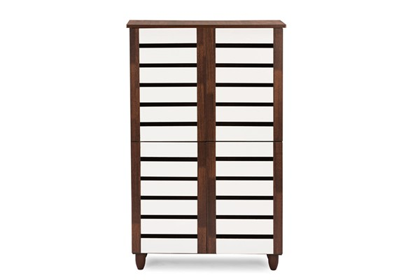 Baxton Studio Gisela Brown White 4 Doors Shoe Cabinet BAX-SC865514-Dirty-Oak-White