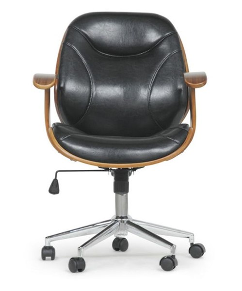 Baxton Studio Rathburn Walnut Black Faux Leather Office Chair BAX-SD-2235-5-Walnut-Black