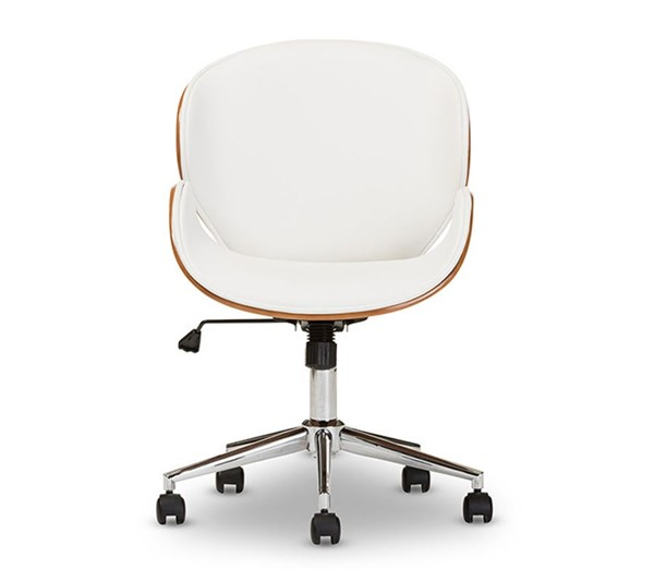Baxton Studio Bruce White Faux Leather Office Chair BAX-SDM-2240-5-Walnut-White