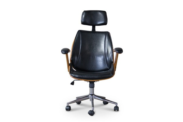 Baxton Studio Hamilton Black Faux Leather Office Chair BAX-SDM-2378-1-walnut-black-OC