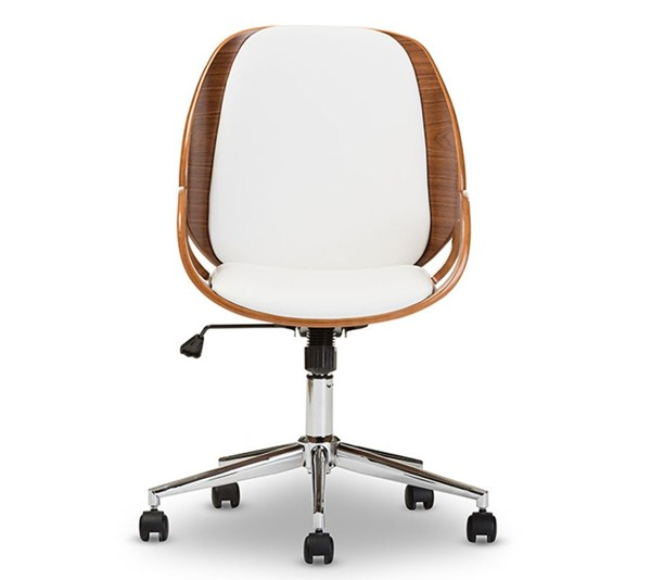 Baxton Studio Watson White Faux Leather Office Chair BAX-SDM2225-5-Walnut-White
