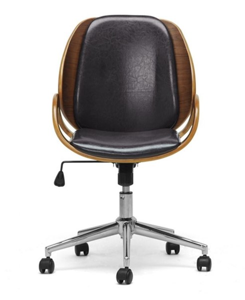 Baxton Studio Watson Black Faux Leather Office Chair BAX-SDM2225-5-Walnut-Black-OC