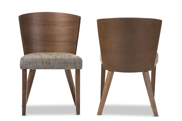 2 Baxton Studio Sparrow Brown Wood Gravel Fabric Dining Chairs BAX-SPARROW-DINING-CHAIR-109-690