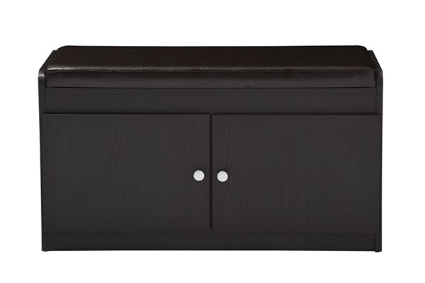 Baxton Studio Margaret Dark Brown Wood Shoe Cabinet with Faux Leather Seating Bench BAX-SR-001-Espresso