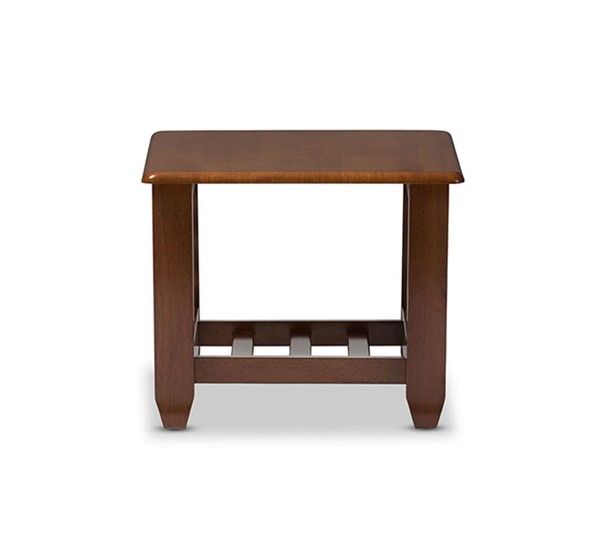 Baxton Studio Larissa Cherry Brown Living Room Occasional End Table BAX-SW5218-Cherry-TS2-ET