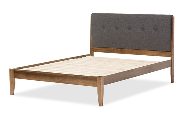Baxton Studio Leyton Fabric Walnut Wood Platform Beds BAX-SW8013-BED-VAR