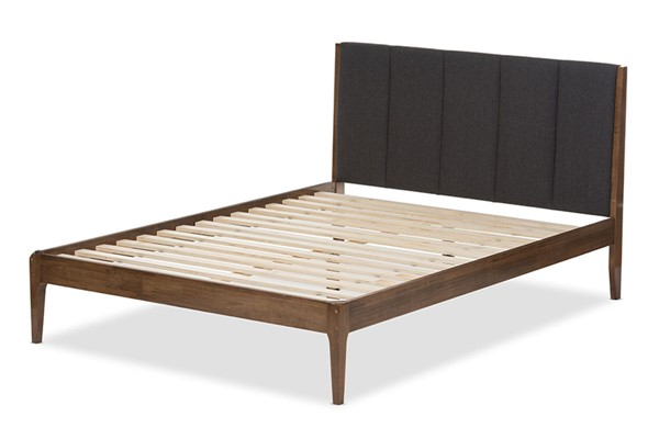 Baxton Studio Ember Fabric Walnut Wood Platform Beds BAX-SW8063-BED-VAR