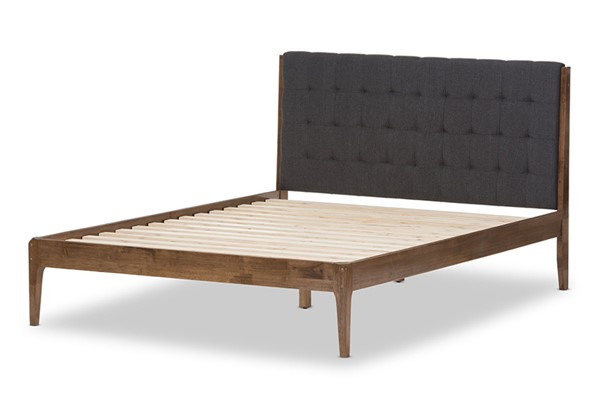 Baxton Studio Clifford Dark Grey Fabric Walnut Wood Queen Platform Bed BAX-SW8065-Grey-Walnut-M7-Queen