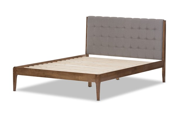 Baxton Studio Clifford Light Grey Fabric Walnut Wood King Platform Bed BAX-SW8065-Light-Grey-Walnut-M7-King