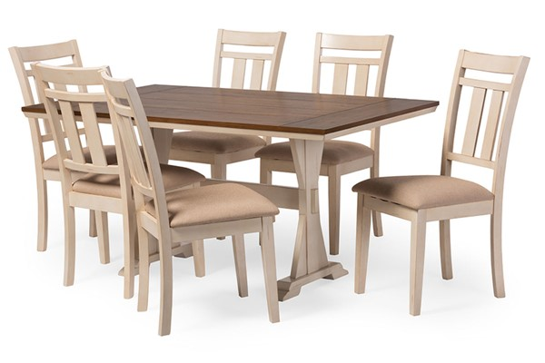Baxton Studio Roseberry Cream 7pc Dining Set with 60 Inch Fixed Top Dining Table BAX-TFAV-13226-ALR-13322-7PC-Set