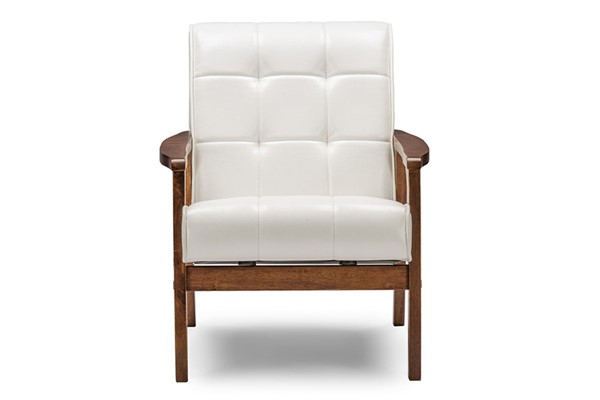 Baxton Studio White Faux Leather Masterpieces Club Chair BAX-TOGO-CC-109-545