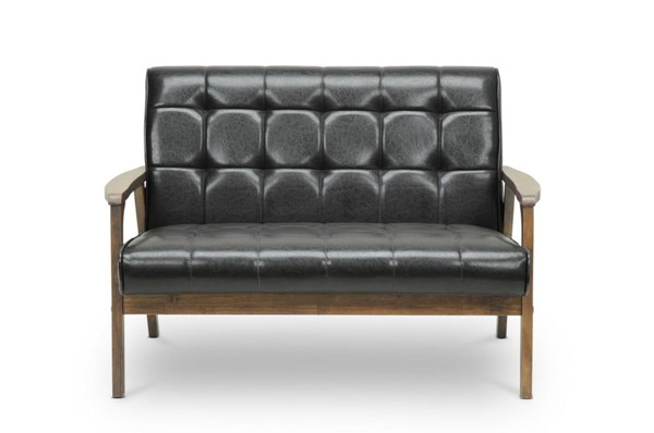 Baxton Studio Brown Faux Leather Masterpieces Loveseat BAX-TOGO-LS-109-541