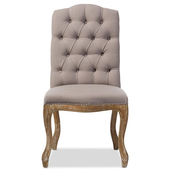 Baxton Studio Hudson Beige Fabric Upholstered Tufted Back Dining Chair BAX-TSF-9342