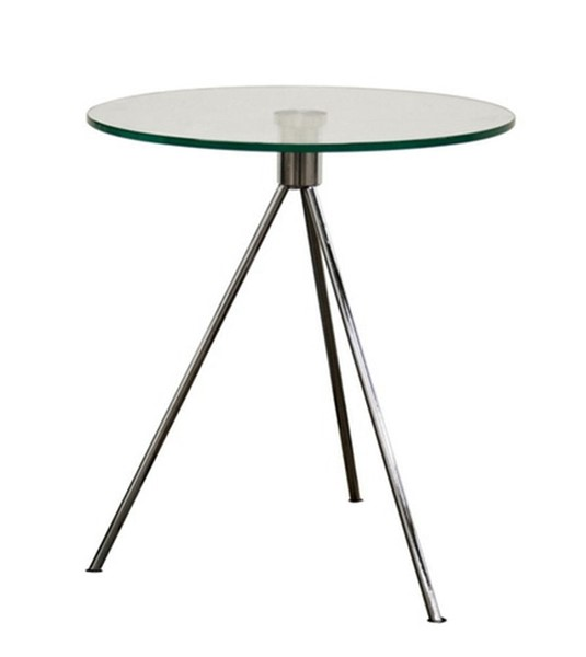 Baxton Studio Triplet Clear Round Glass Top End Table with Tripod Base BAX-TTT-01
