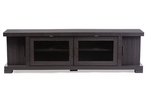 Baxton Studio Viveka Dark Brown Wood 70 Inch TV Cabinet with 2 Glass Doors BAX-TV838076-Embosse