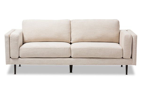 Baxton Studio Brittany Light Beige Fabric Upholstered 3 Seater Sofa BAX-U5073K-Light-Beige-SF