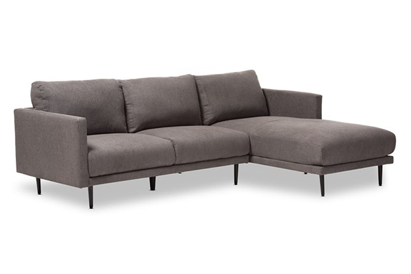 Baxton Studio Riley Grey Fabric Upholstered Right Facing Chaise Sectional Sofa BAX-U6049-Grey-RFC-SF