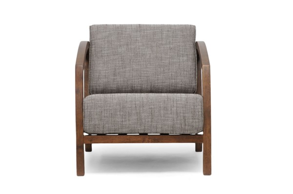 Baxton Studio Velda Brown Gravel Fabric Accent Chair BAX-VELDA-LOUNGE-CHAIR-109-690