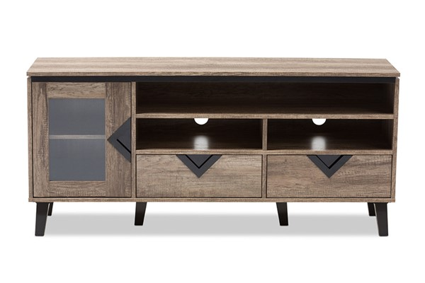 Baxton Studio Cardiff Brown Wood 55 Inch TV Stand BAX-W-1512