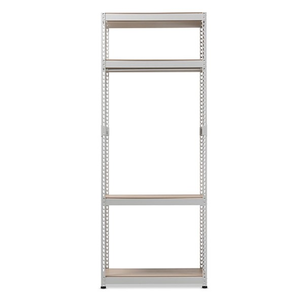 Baxton Studio Gavin White Metal 4 Shelves Closet Storage Racking Organizer BAX-WH09-White-Shelf