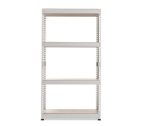 Baxton Studio Cody White Metal 4 Shelves Multipurpose Shelving Rack BAX-WR10-White-Shelf
