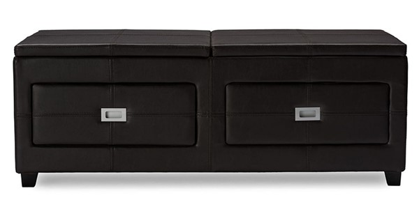 Baxton Studio Indy Brown Lift top Storage Cocktail Ottoman Table BAX-WS-186-Matt-Brown