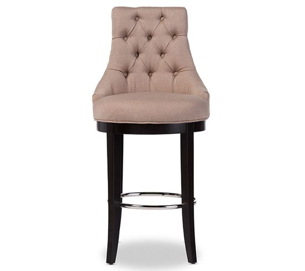 Baxton Studio Harmony Beige Fabric Upholstered Bar Stool with Metal Footrest BAX-WS-2076-Beige