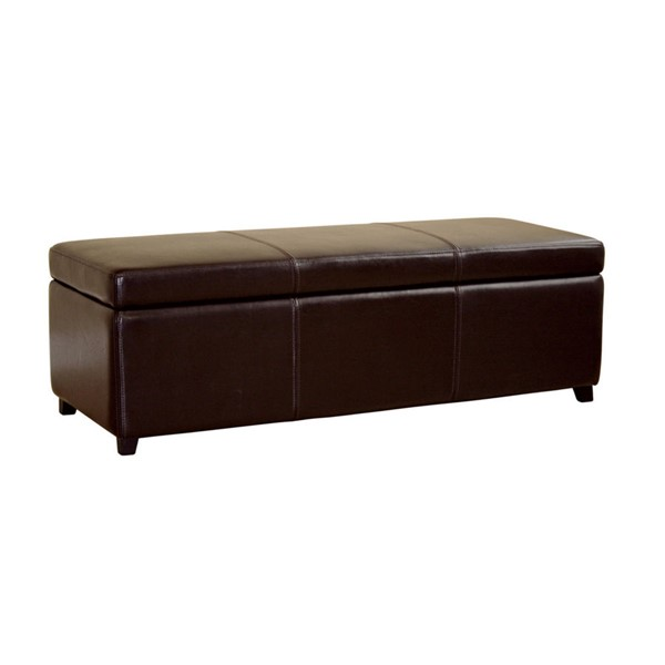 Baxton Studio Monroe Dark Brown Bycast Leather Storage Bench Ottoman BAX-Y-161-001-dark-brown