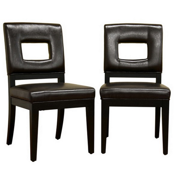 2 Baxton Studio Faustino Dark Brown Bycast Leather Dining Chairs BAX-Y-765-001-1