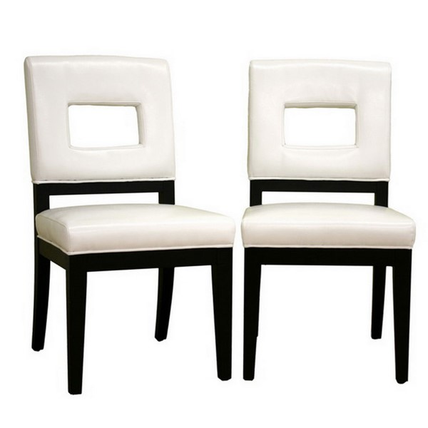 2 Baxton Studio Faustino Cream Bycast Leather Dining Chairs BAX-Y-765-155