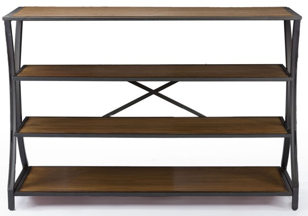 Baxton Studio Lancashire Brown Wood 3 Shelves Console Table BAX-YLX-0004-AT