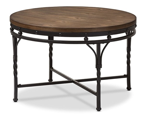 Baxton Studio Austin Antique Bronze Round Coffee Cocktail Occasional Table BAX-YLX-2687-CT