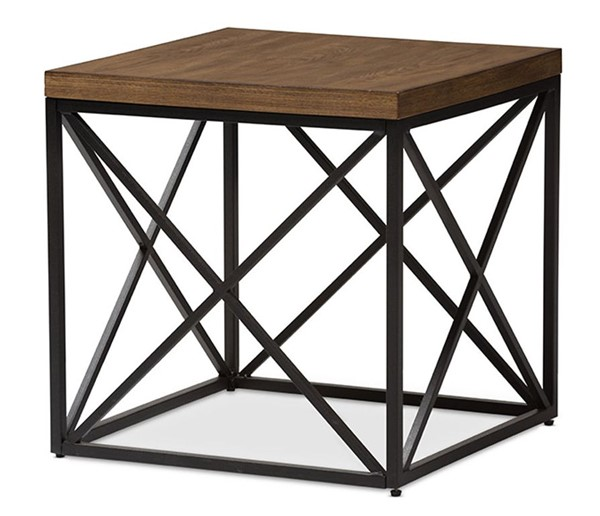Baxton Studio Holden Brown Wood Square End Table BAX-YLX-2692-ET