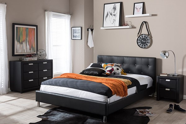 Baxton Studio Barbara Black Faux Leather Queen Bed with Crystal Button Tufting BAX-BBT6140-Black-Bed