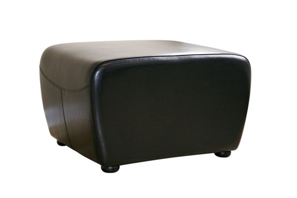Baxton Studio Mendozza Black Bycast Leather Rounded Sides Ottoman BAX-Y-051-023-black