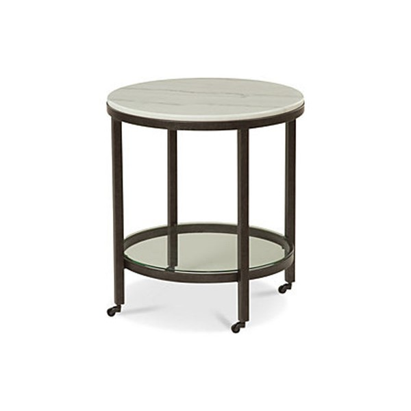 Bassett Mirror Whitman Bronze Ivory Marble Round End Table BMC-1112-LR-220