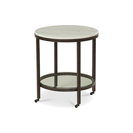 Bassett Mirror Whitman Bronze Marble Round End Table BMC-1112-LR-220EC
