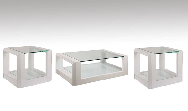 Cristobal White Rectangle Coffee Table Set BMC-2745-CT