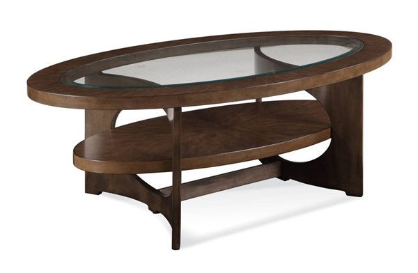 Alford Grey Graphite Wood Glass Oval Cocktail Table BMC-2795-140EC
