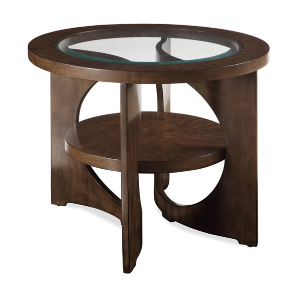 Alford Grey Graphite Wood Glass Round End Table BMC-2795-220EC
