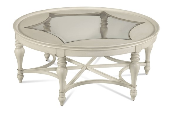 Sanibel Coastal White Wood Glass Round Cocktail Table BMC-2862-120EC