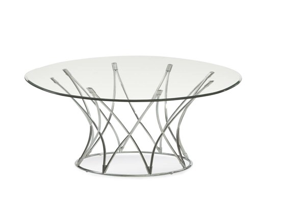 Mercer Modern Chrome Metal Glass Round Cocktail Table BMC-2874-120EC