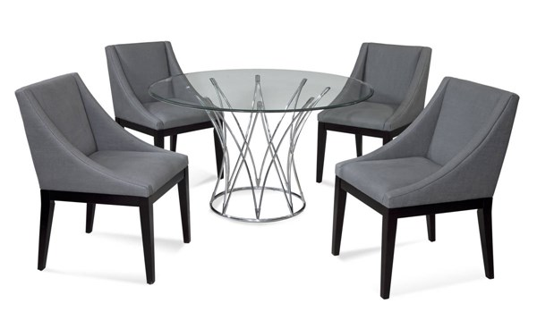 Mercer Contemporary Metal Glass Fabric 5pc Dining Room Set BMC-2874-700-DPCH52-746EC-DR-S